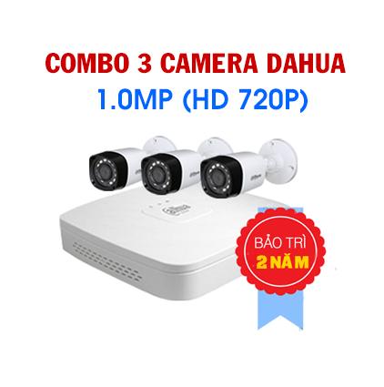 Lắp camera dahua trọn bộ 3 mắt 1.0mp cho gia đình